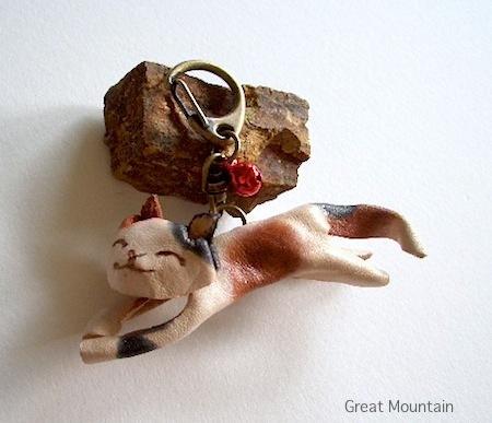 島猫 しまねこ シリーズ ネコ キーホルダー 革 レザー 猫 ねこ 三毛猫 名前無