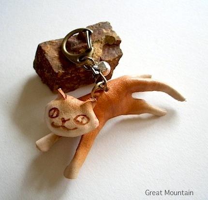 島猫 シリーズ しまねこ ネコ キーホルダー 革 レザー 猫 ねこ 茶虎 名前無 猫グッズ