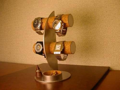 彼氏へのプレゼントに!三日月腕時計ディスプレイスタンド!トレイ、リングスタンド付き ak-design