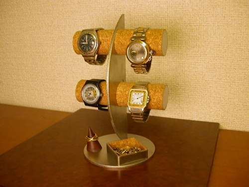 贈り物に! 三日月腕時計ディスプレイスタンド!リングスタンド 角トレイ付き ak-design