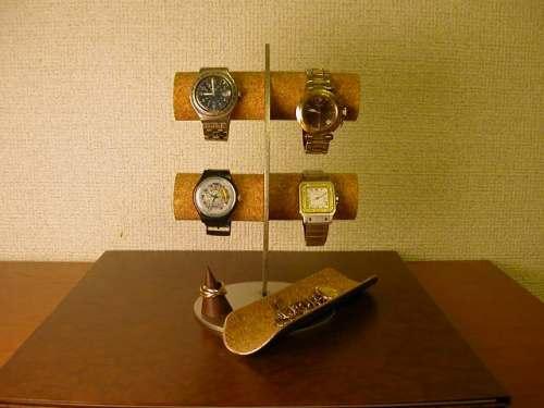 大切な人へ! 三日月腕時計スタンド ロングトレイ、リングスタンド付き ak-design