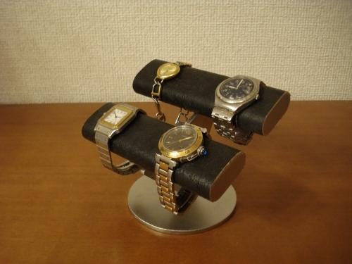 腕時計ケース!ブラックダブル楕円腕時計スタンド