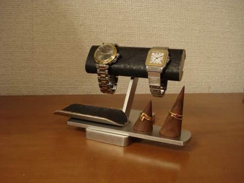 ブラック腕時計&リングスタンド