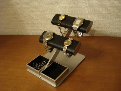 プレゼントに!ブラック4本掛け楕円時計収納ケース風腕時計スタンド