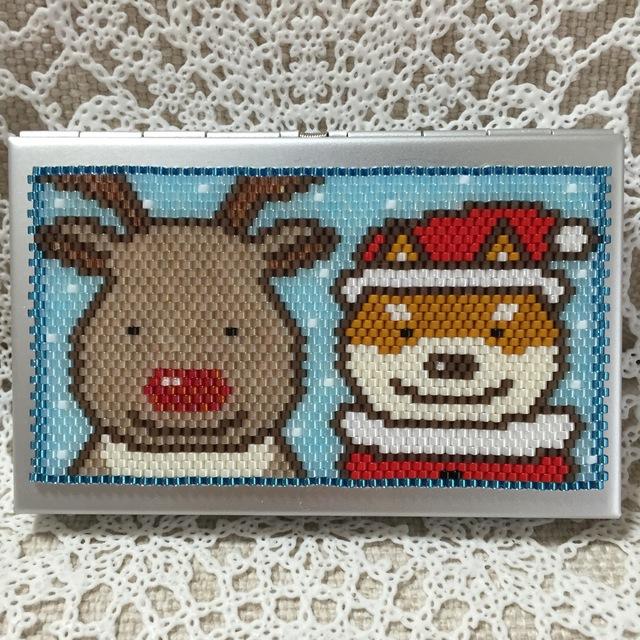 カードケース(トナカイさんと柴犬サンタ?)