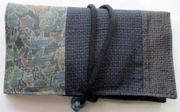 着物リメイク 色大島と藍大島で作った和風財布 1787