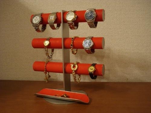 レッド12本掛けロングトレイ腕時計スタンド