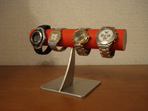 レッド4本掛けシンプル腕時計スタンド スタンダード