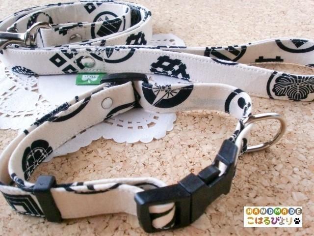 武将の家紋柄 和風な犬用リード&首輪セット(小〜中型犬用)