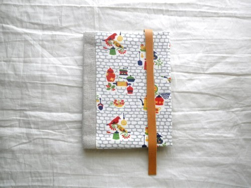 文庫本ブックカバー フィードサック キッチン&バード