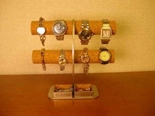彼氏へのプレゼントに!角トレイ三日月支柱8本掛け腕時計収納スタンド ak-design