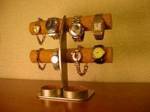 腕時計愛好家に!丸トレイ三日月支柱8本掛け腕時計収納スタンド ak-design