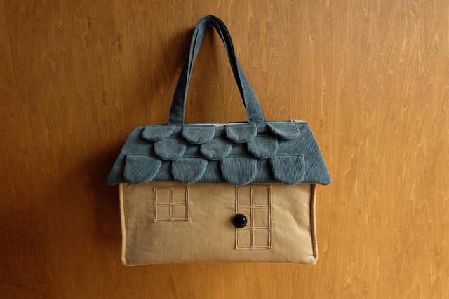 OUCHI box bag L  ブルーグレー屋根