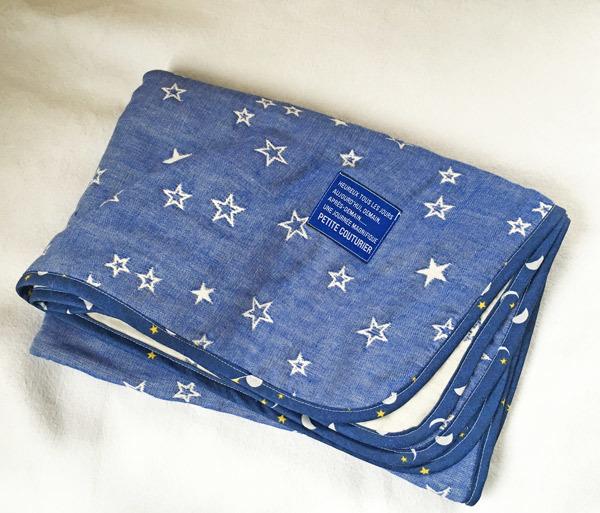 星ブルーのひるね用サイズの6重ガーゼケット