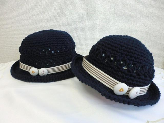 ★c様ご予約品★ ボタンチャームのマリン帽子54cm&42cm