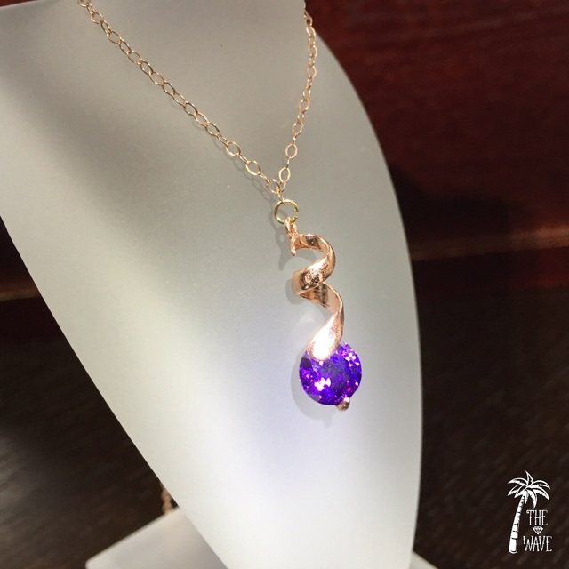 <Rose14kgf> しずくひと粒 - violet necklace -