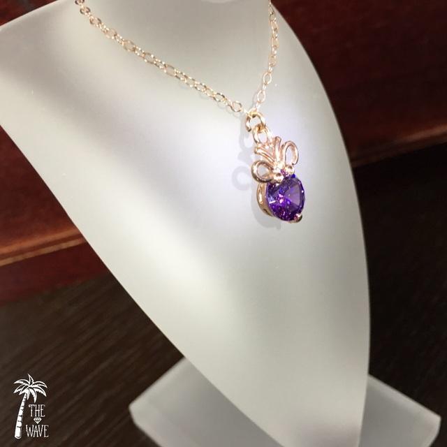 <Rose14kgf> 8mmキュービックジルコニア一粒ネックレス -ユリの紋章 violet-