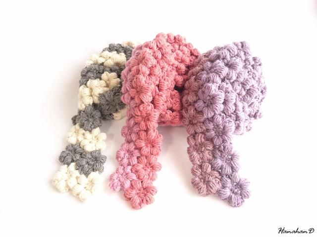 お花モチーフのぷくぷくマフラー 手編みツートンパープル