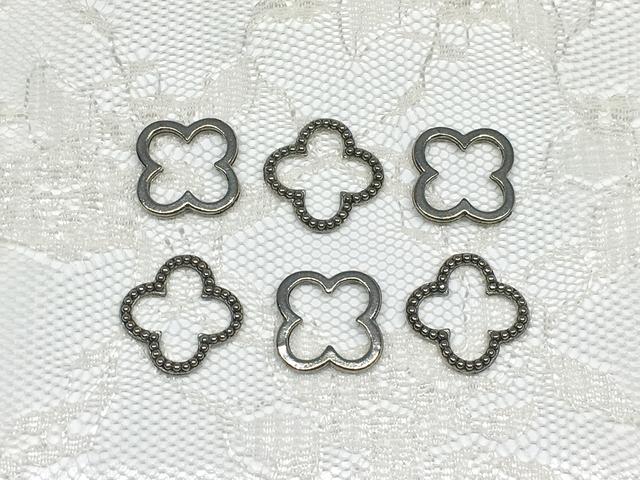 メタルビーズ:クロス型/6コ(銀古美)<23/as>