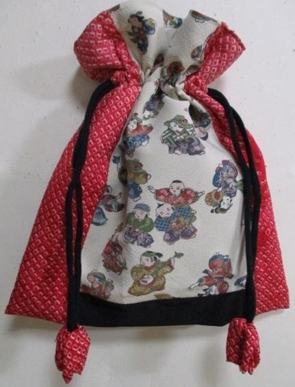 着物リメイク 絞りと縮緬の着物で作った巾着袋 1790