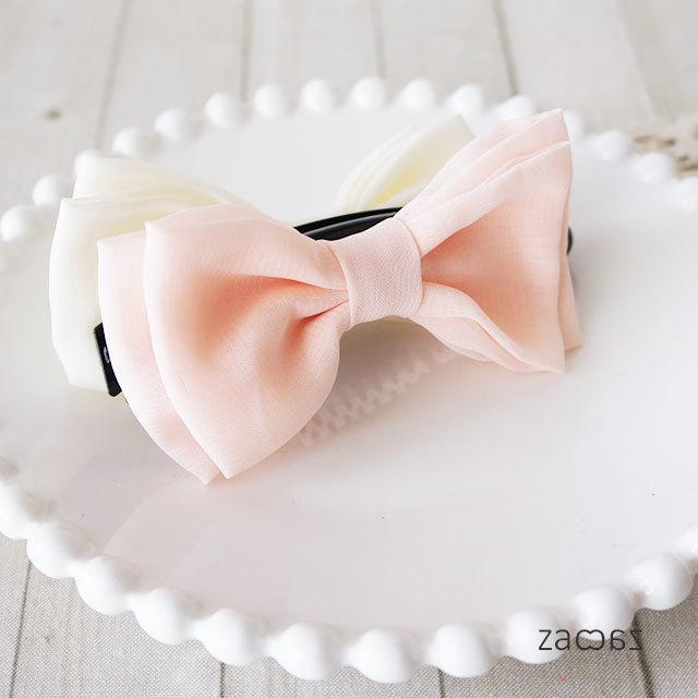 【販売終了】ふんわりリボンのバナナクリップ*ピンク×ホワイト
