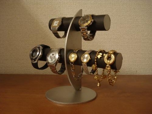 三日月支柱ブラック6本掛け腕時計スタンド スタンダード