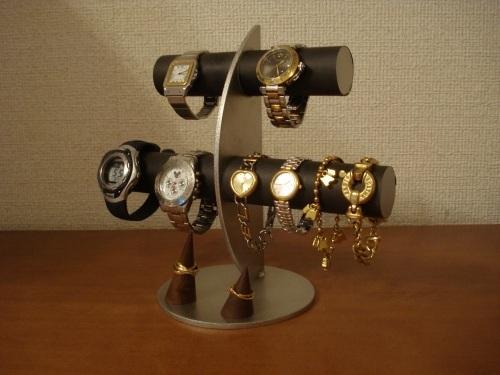 ブラック三日月6本掛け腕時計スタンド木製指輪スタンド