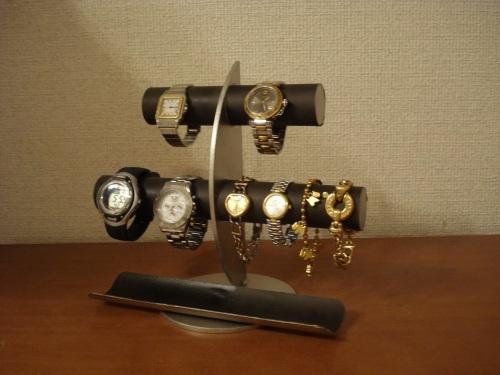 ブラック三日月6本掛け腕時計スタンド ロングトレイバージョン