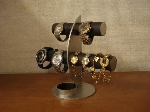 ブラック三日月6本掛け腕時計スタンド 丸トレイバージョン