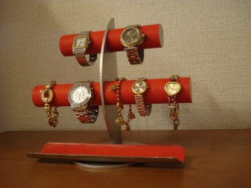 レッド三日月6本掛け腕時計スタンド ロングトレイバージョン