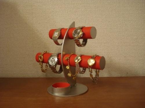 レッド三日月6本掛け腕時計スタンド 丸いトレイバージョン