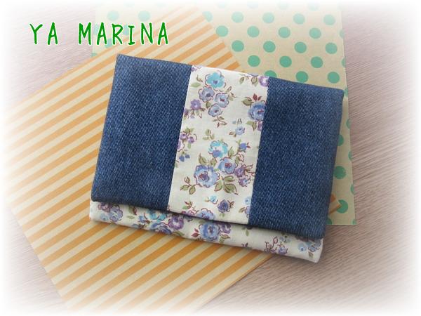 2つ折りティッシュケース ブルー&花柄
