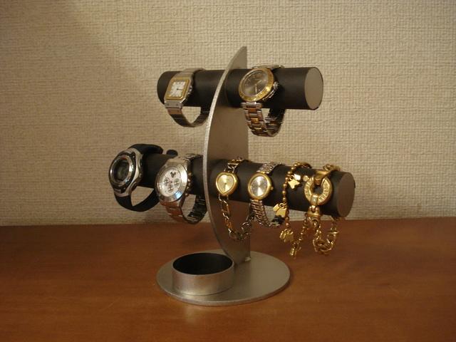 誕生日プレゼントに!ブラック三日月6本掛け腕時計スタンド 丸トレイバージョン ak-design