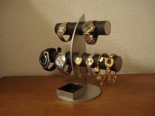 彼女へのプレゼントに!ブラック三日月6本掛け腕時計スタンド 四角いトレイバージョン ak-design