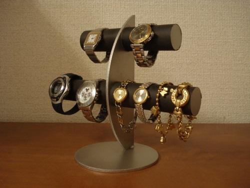 腕時計収集家に!三日月支柱ブラック6本掛け腕時計スタンド スタンダード ak-design