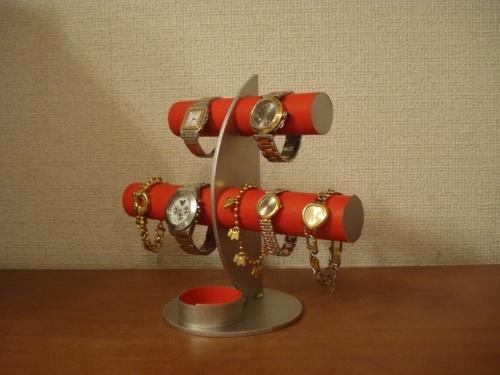 プレゼントに!レッド三日月6本掛け腕時計スタンド 丸いトレイバージョン ak-design