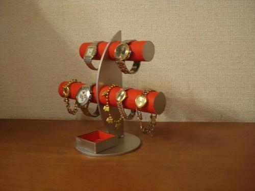 クリスマスプレゼントに! レッド三日月6本掛け腕時計スタンド 四角いトレイバージョン ak-design