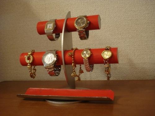 プレゼントに! レッド三日月6本掛け腕時計スタンド ロングトレイバージョン ak-design