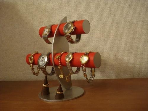 彼氏へのプレゼントに!レッド三日月6本掛け腕時計スタンド カップル 木製リングスタンド  ak-design