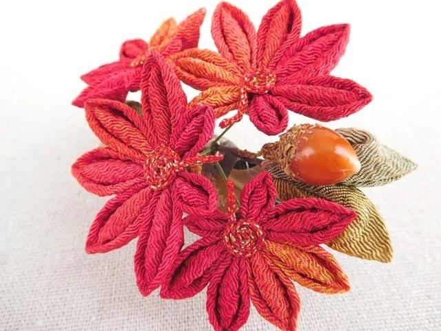 秋色☆紅葉とドングリのくちばしクリップ(房飾り無し) #つまみ細工