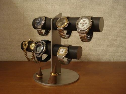 プレゼントに! ブラック6本掛け腕時計スタンド リングスタンドバージョン(未固定 動かせます) ak-design