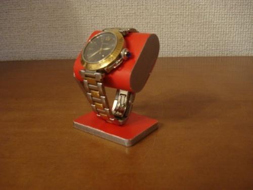 プレゼントに!コンパクトだ円腕時計スタンド ベルトコルク台座接触バージョン レッド  ak-design