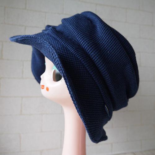 ワッフル柄ニット生地で作ったハット帽