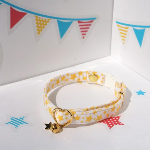 【猫用】星柄の首輪(星屑・黄色)