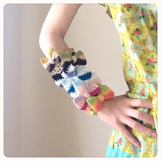 3色リボンの手編みシュシュ【新色追加!】