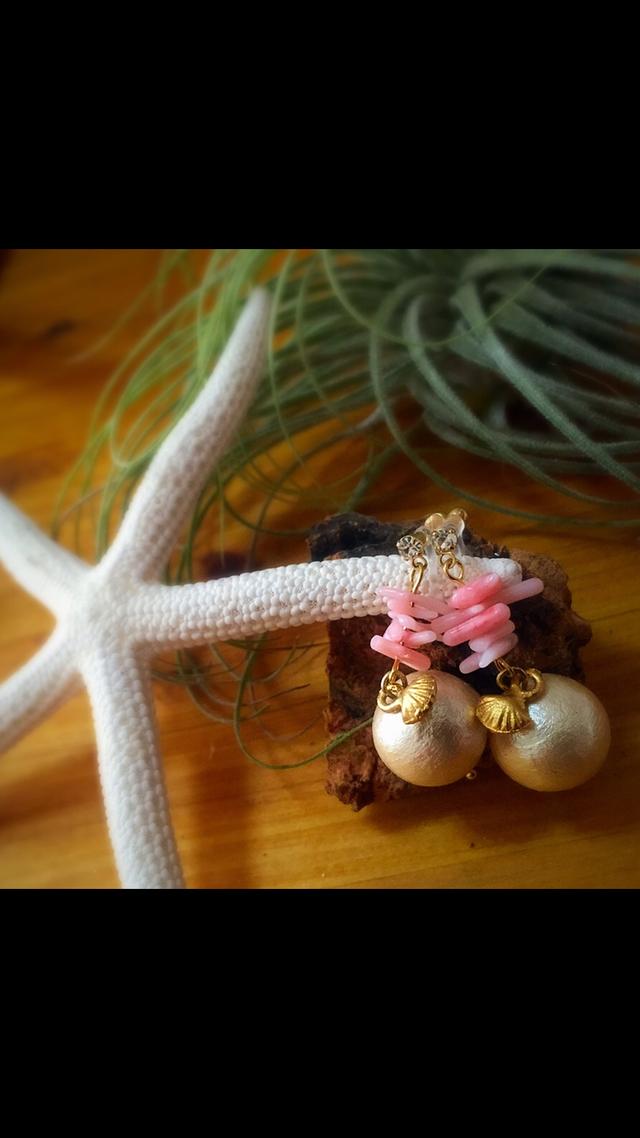 ピンク珊瑚イヤリング