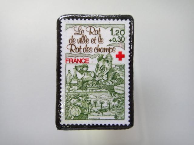 フランス  切手ブローチ1466