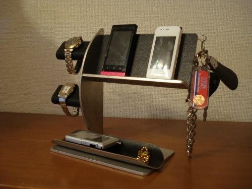 誕生日プレゼントに!ブラック腕時計2本・キー・スマホ 携帯電話スタンド 《タバコ、ライター、メガネなども置ける大きな小物トレイ付き》 ak-design
