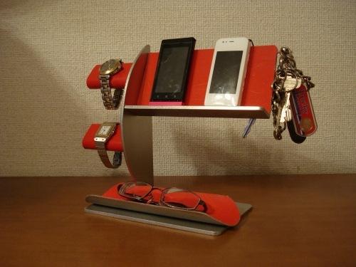 贈り物に!レッド腕時計2本・キー・スマホ 携帯電話スタンド  《タバコ、ライター、メガネなども置ける大きな小物トレイ付き》 ak-design