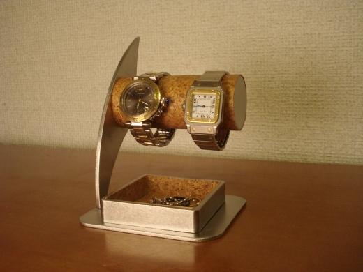 誕生日プレゼントに! 大きいトレイ付き2本掛け腕時計スタンド ak-design